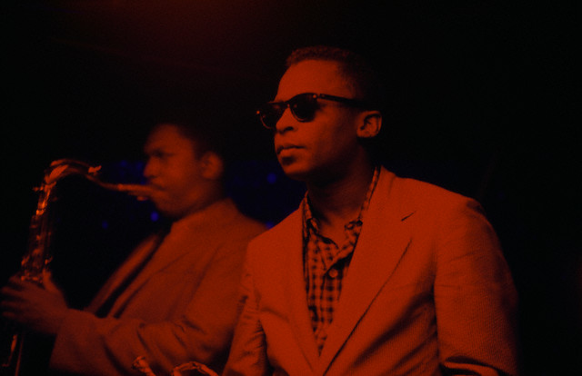 Trumpeter Miles Davis and saxophonist John Coltrane  performing at Jazz club Cafe Bohemia in New York City, ca. 1956.