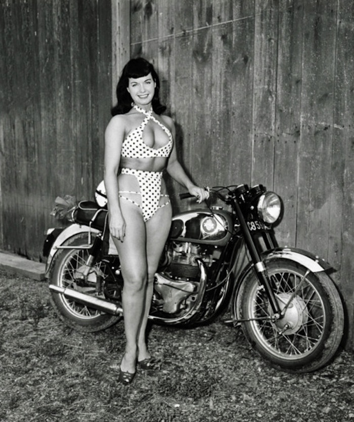 Bettie Page BSA motorcycle