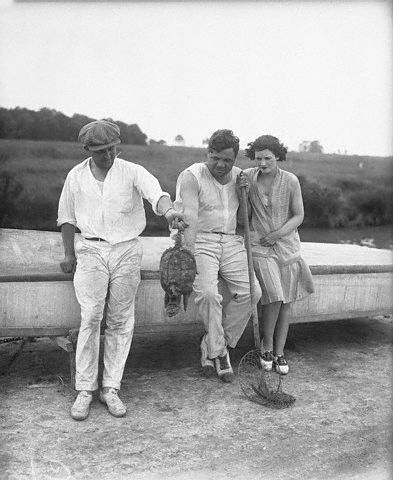 Carol Rogers, the Babe and his wife... oh, and a snapping turtle. -- June 15th, 1929.