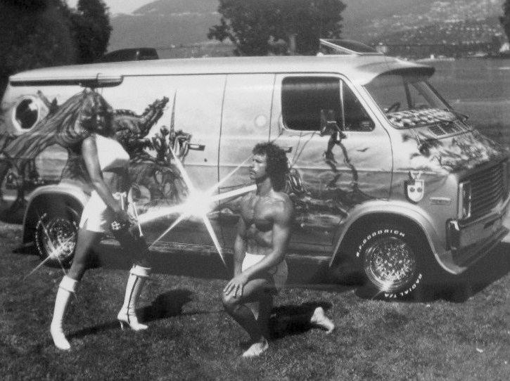 1970s custom van airbrush paint job beauty queen