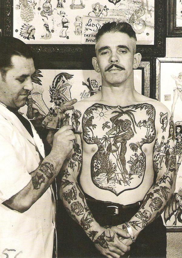 tattoo parlor vintage postcard