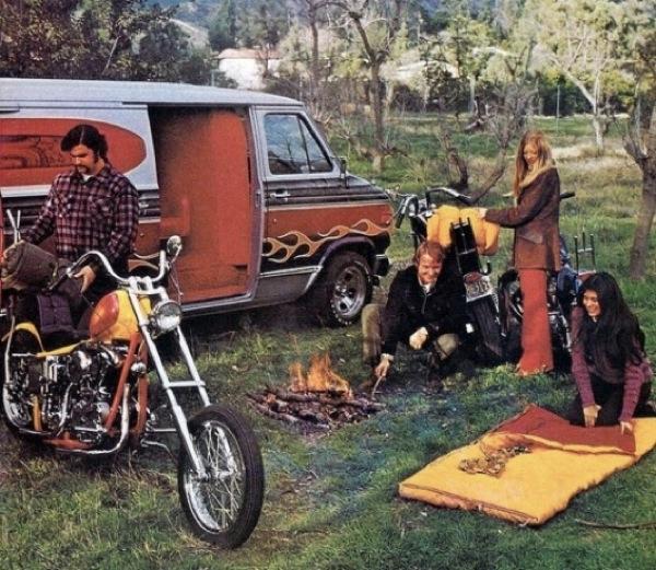 custom harley van 1970s