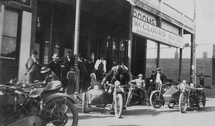 Oakland Motorcycle Club at Clearlake in McCloud's Hotel, 1924. Notice all the locals gawking at the bikers.  Some things never change.