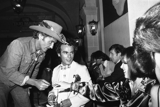 1976 cannes france actors dennis hopper and dean stockwell at a