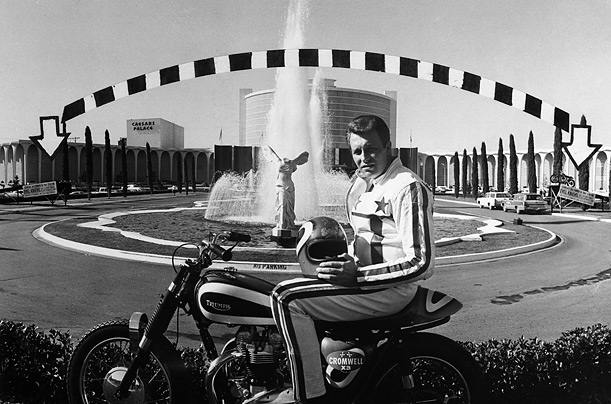 Evel Knievel Stratocycle Up For Auction: TRIUMPH OVER THE FOUNTAINS AT CAESARS