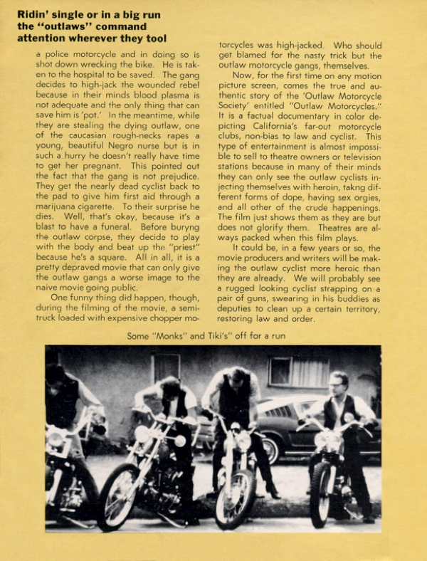 BARRED MOTORCYCLE MAGAZINE 1960S PAGE 11
