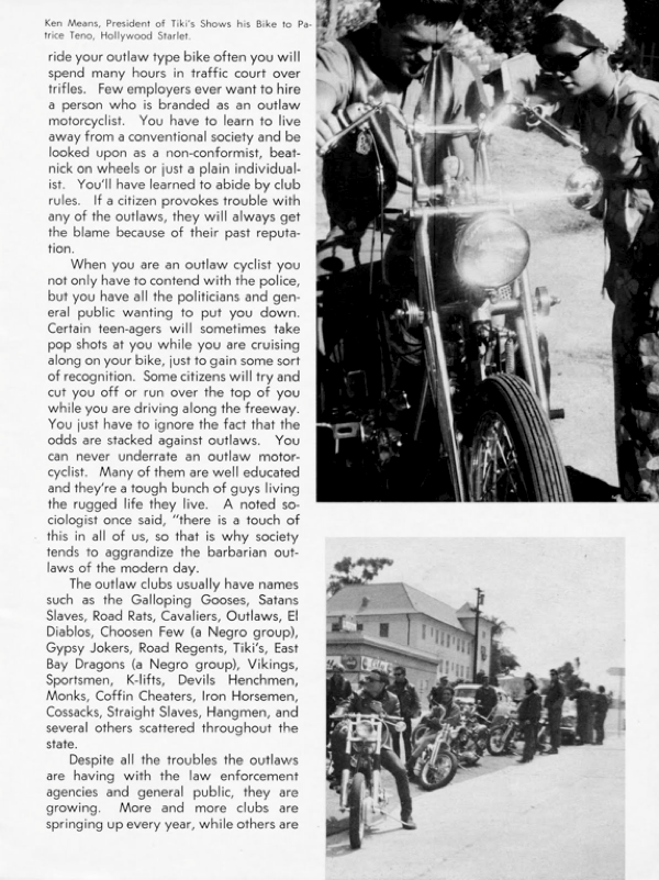 BARRED MOTORCYCLE MAGAZINE 1960S PAGE 14