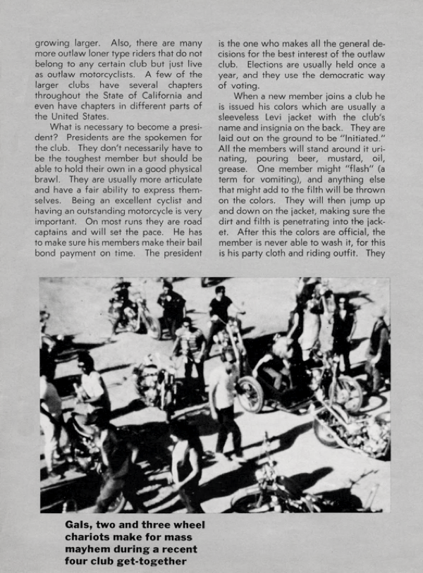 BARRED MOTORCYCLE MAGAZINE 1960S PAGE 15