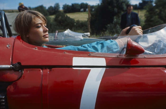Francoise Hardy on the 'Grand Prix' film set