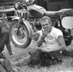 "1964, Erfurt, Germany --- Steve McQueen from the United States took part in 1964 with the number ""278"" on his Triumph at the international motorcycle race ""Six Days"" in Erfurt, Photo. Dieter Demme"