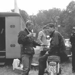 1964, Erfurt, Germany -- Steve McQueen has a coffee during a rest as he took part in the international motorcycle race Six Days on his Triumph with the number 278. Photo, Dieter Demme