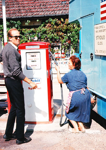 CLIFF SUPERVISING THE GAS FILL-UP IN FRANCE Photo courtesy of Bud and Dave Ekins Collection