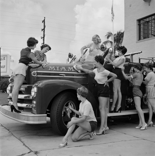 bunny yeager pinup girls fire truck