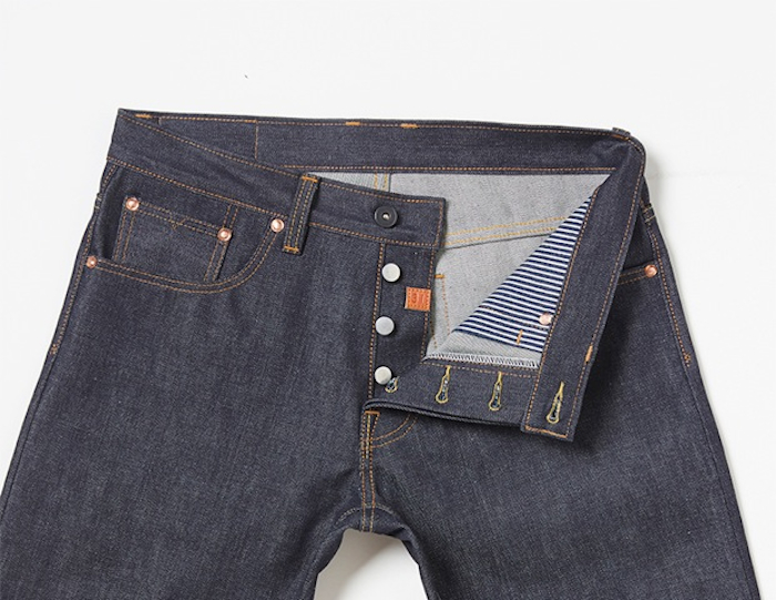NORMAN PORTER BUTTON FLY DENIM JEANS SELVAGE SELVEDGE