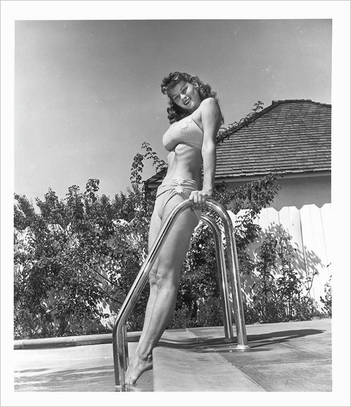 irish mccalla pool swimsuit pinup