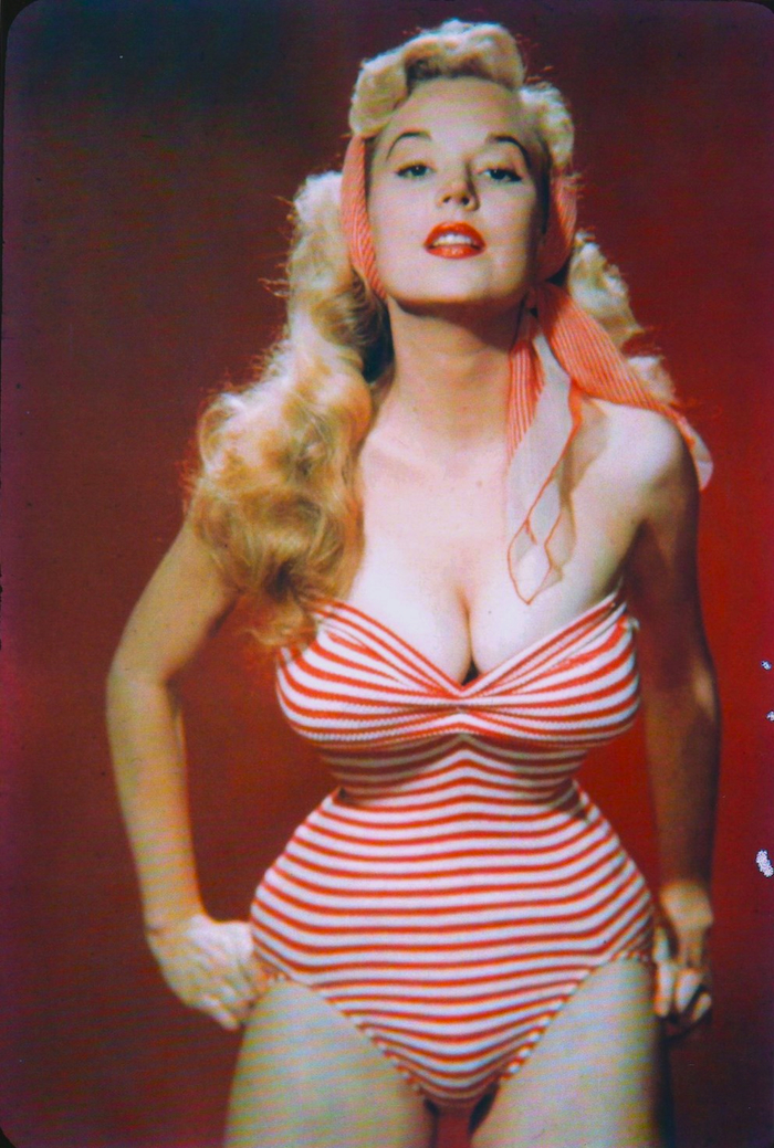 betty brosmer red stripe swimsuit