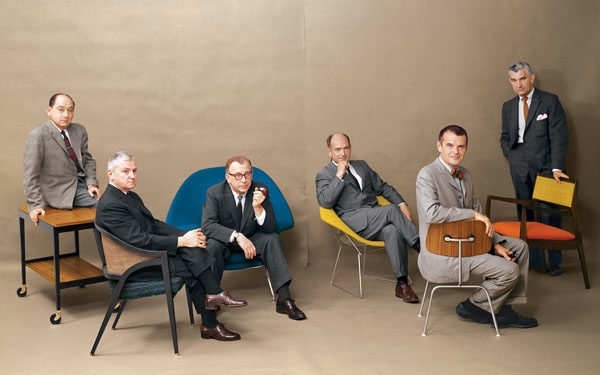 George Nelson, Edward Wormley, Eero Saarinen, Harry Bertoia, Charles Eames and Jens Risom. Playboy Magazine, July 1961