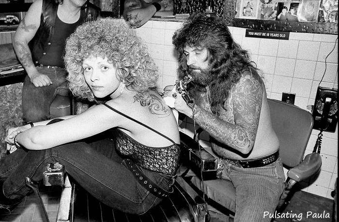 pulsating paula 1970s 1980s biker babe tattoo