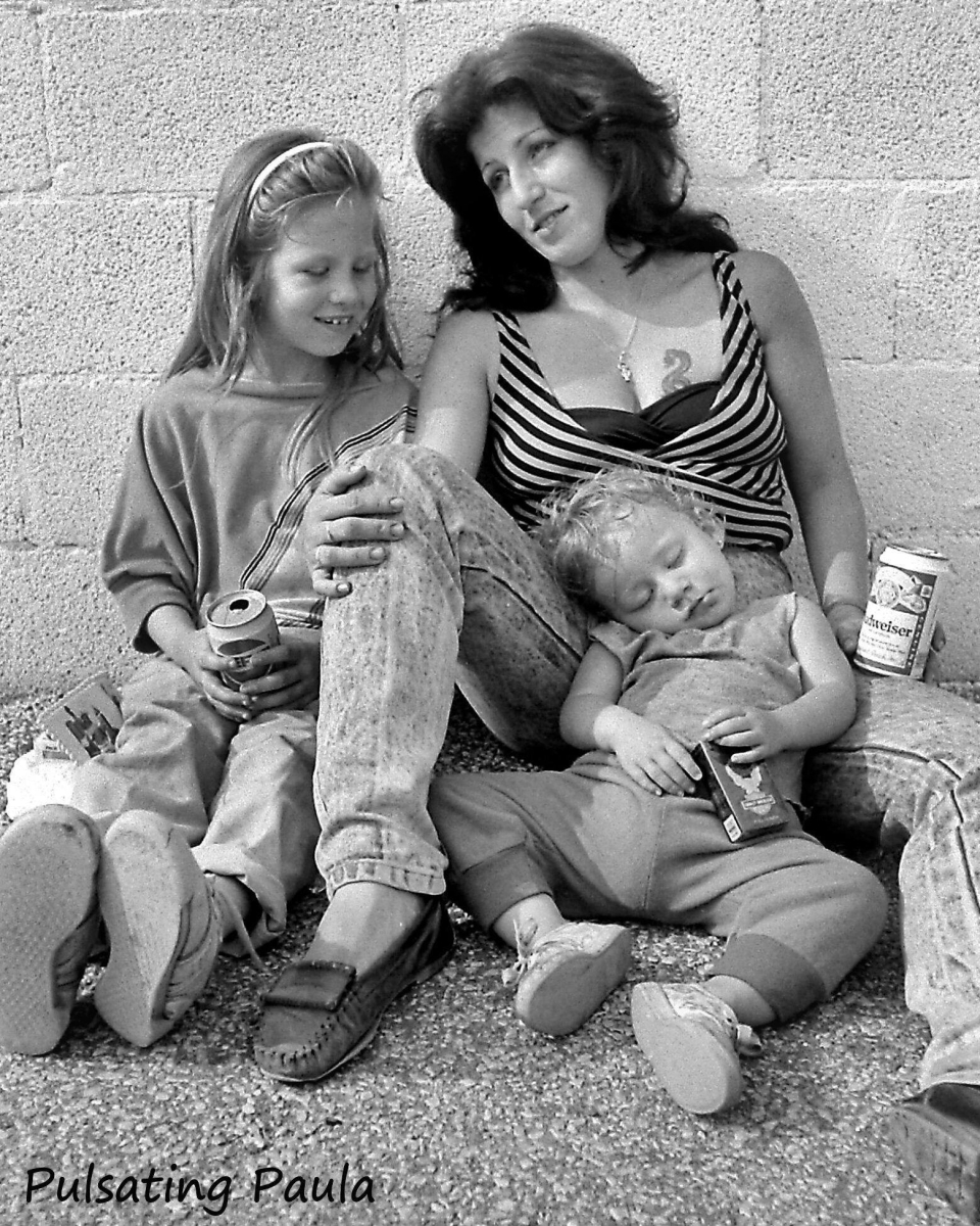 pulsating paula 1980s biker mom kids smokes