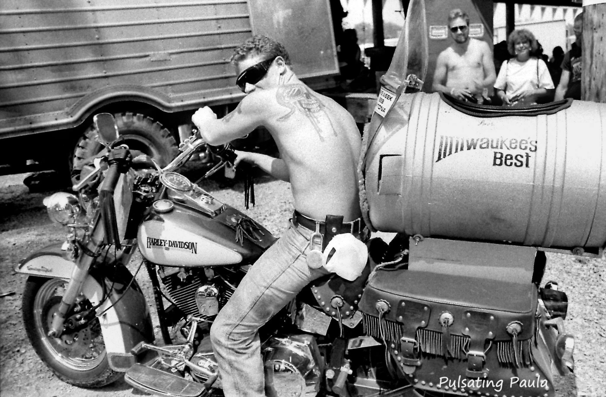pulsating paula biker harley keg sidecar