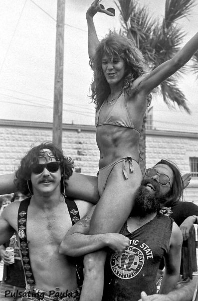 PULSATING PAULA DAYTONA BEACH BIKE WEEK 1980S BIKINI BABE BIKER