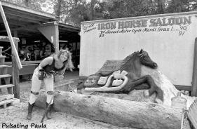 PULSATING PAULA DAYTONA BEACH BIKE WEEK 1990S IRON HORSE SALOON BIKER BABE
