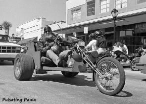 PULSATING PAULA DAYTONA BEACH BIKE WEEK BIKER TRIKE MAIN STREET 1980S