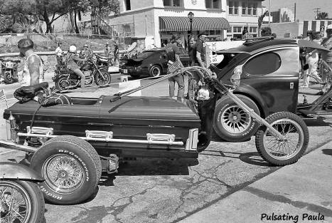 PULSATING PAULA DAYTONA BEACH BIKE WEEK COFFIN VW TRIKE MOTORCYCLE 1980S