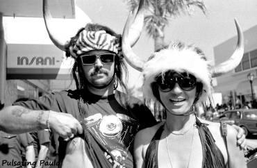 PULSATING PAULA DAYTONA BEACH BIKE WEEK HORN HATS TOPLESS BREAST PIERCED NIPPLE BIKER 1980S