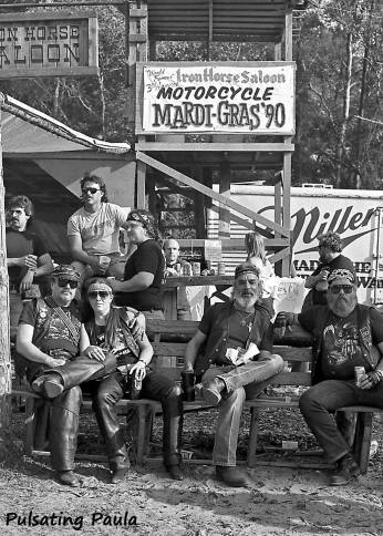 PULSATING PAULA DAYTONA BEACH BIKE WEEK IRON HORSE SALOON MARDI GRAS MOTORCYCLE BIKER BAR 1990S