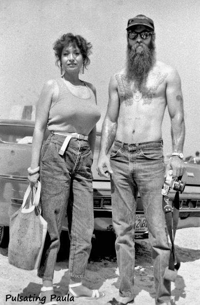 PULSATING PAULA DAYTONA BEACH BIKE WEEK TOPLESS COUPLE 1980S