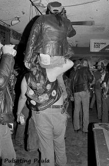 PULSATING PAULA DAYTONA BEACH BIKER BAR MC LEATHER PATCH PIGGYBACK 1980S