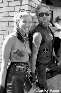 PULSATING PAULA DAYTONE BIKE WEEK TOPLESS NUDE BODY PAINT 1980S BKER BABE