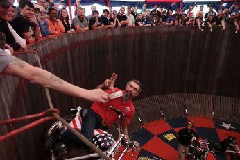 THE HANDBUILT SHOW AUSTIN MOTORCYCLE.JPG STEVE WEST THE SELVEDGE YARD AMDC WALL OF DEATH RIDER CHARLIE