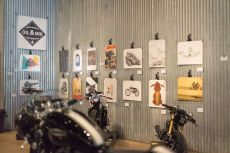 THE HANDBUILT SHOW AUSTIN MOTORCYCLE STEVE WEST THE SELVEDGE YARD OIL AND INK EXPO MOTO ART