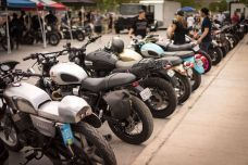 THE HANDBUILT SHOW AUSTIN MOTORCYCLE STEVE WEST THE SELVEDGE YARD PARKING LOT