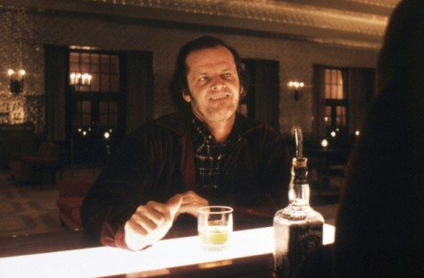 1980 --- American actor Jack Nicholson on the set of The Shining, based on the novel by Stephen King, and directed by Stanley Kubrick. --- Image by © Sunset Boulevard/Corbis