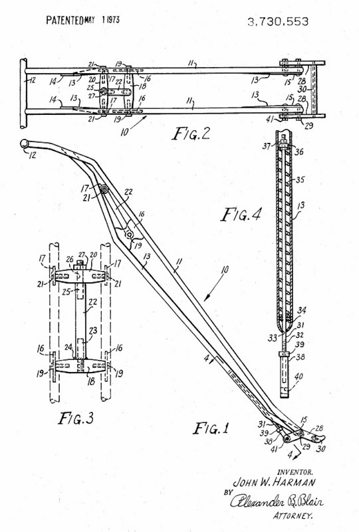 john Harman spirder chopper motorcycle front end patent