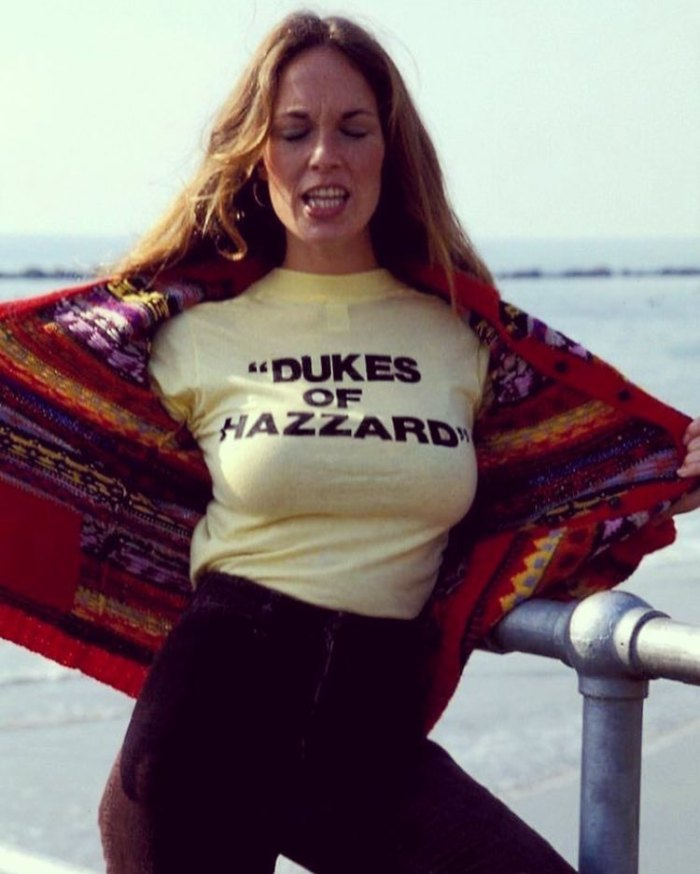 catherine bach in wearing dukes of hazzard tee t-shirt