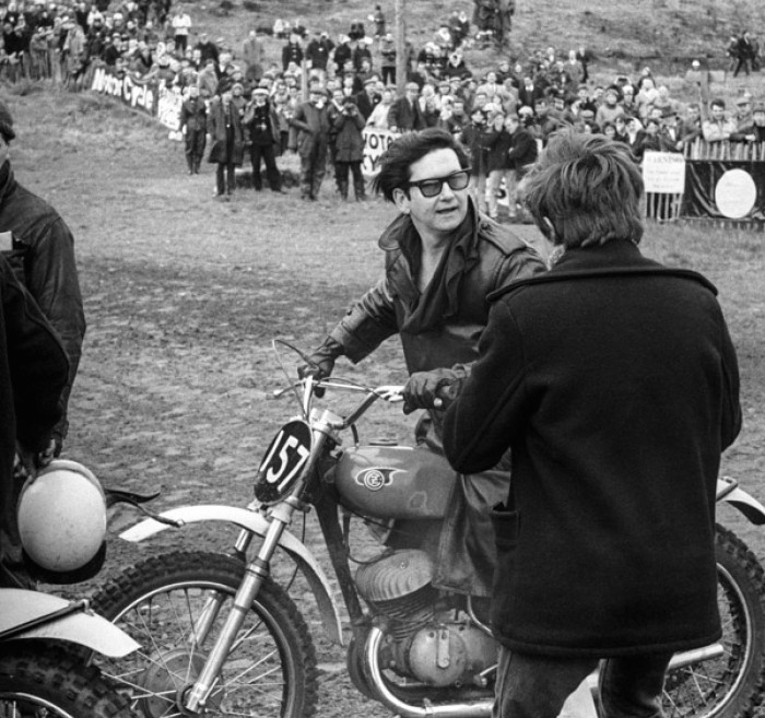 ROY ORBISON on the CZ motorcycle of Dave Bickers, 1966 ACU Championship meeting Hawkstone mike hayward