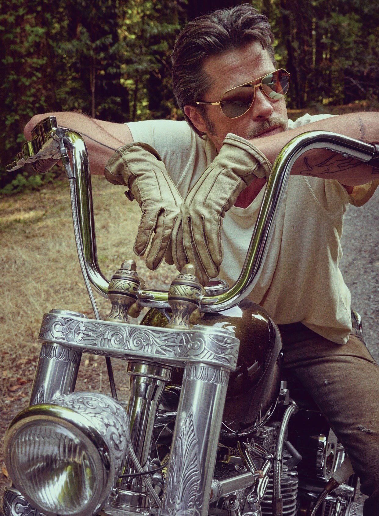 brad pitt when push comes to shove indian larry legacy paul cox custom chopper motorcycle