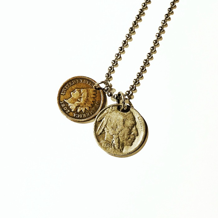 TSY THE SELVEDGE YARD JEWELRY INDIAN HEAD NICKEL PENNY VINTAGE NECKLACE
