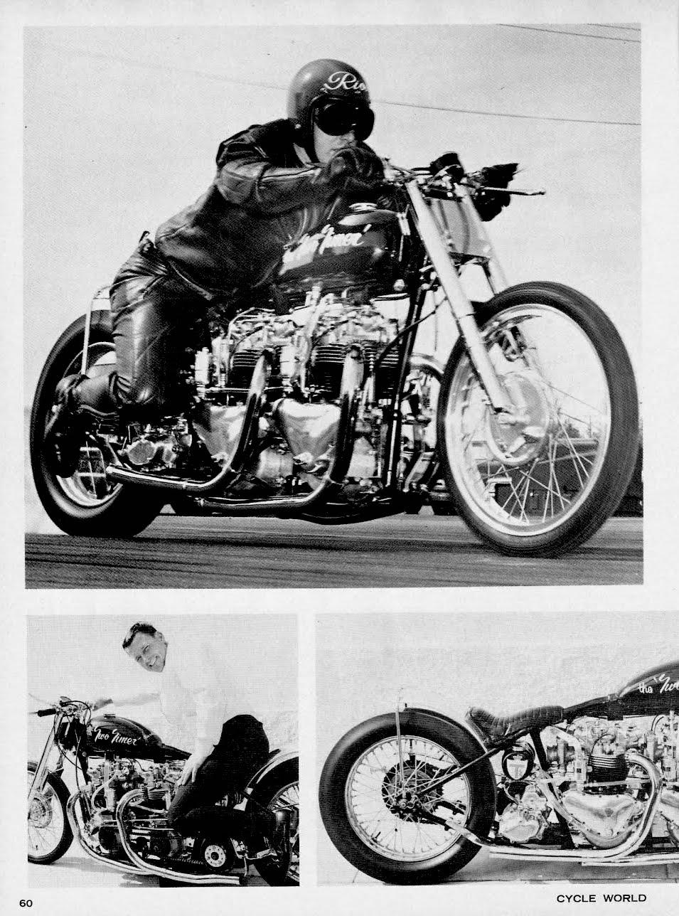 1964azzz1965 dick rios two timer triumph motorcycle drag bike
